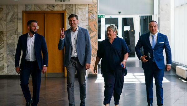 Представители партии Согласие Андрис Морозовс,  Константин Чекушин, Анна Владова и Сандрис Бергманис подают списки на выборы в Рижскую думу  - Sputnik Latvija