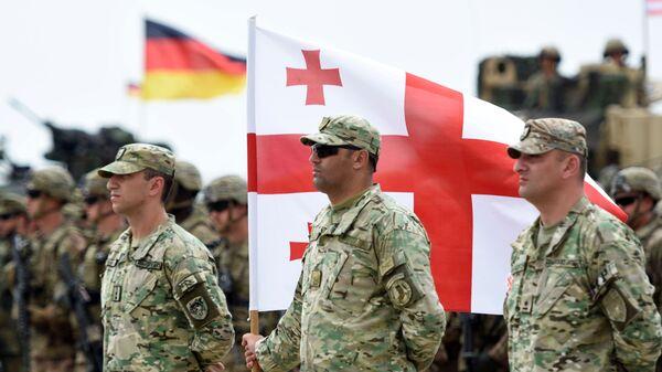 Военнослужащие армии Грузии на открытии международных военных учений Достойный партнер-2018 под эгидой НАТО в Грузии. - Sputnik Latvija