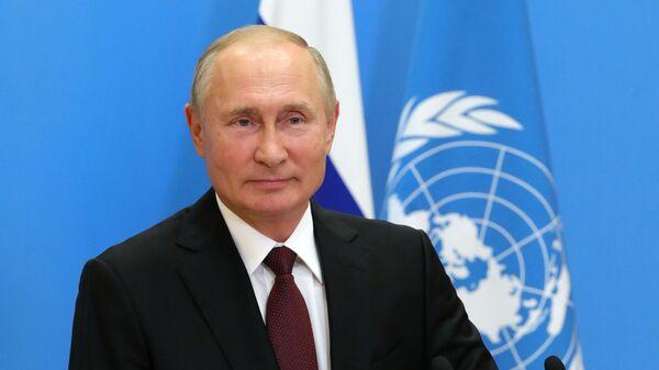 Выступление президента РФ В. Путина с видеообращением на 75-й сессии Генассамблеи ООН - Sputnik Latvija