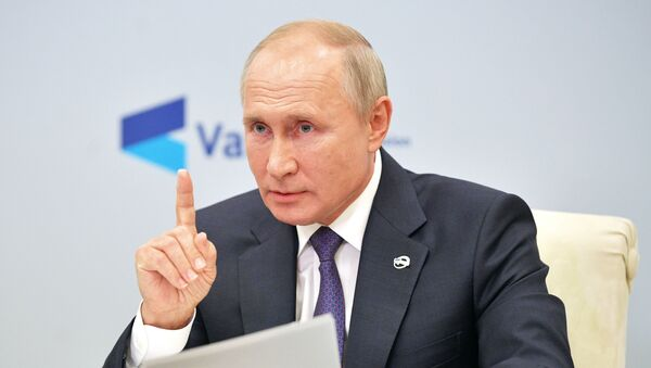 Президент РФ Владимир Путин принимает участие в заседании дискуссионного клуба Валдай - Sputnik Латвия