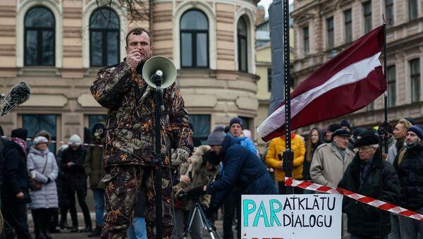 Акция протеста на набережной 11 Ноября в Риге против ограничений в связи с пандемией COVID-19 - Sputnik Latvija