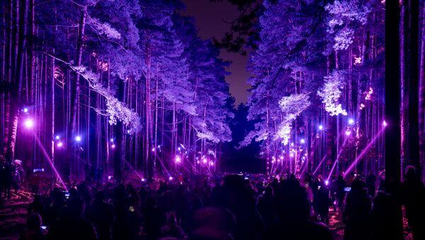 Световая инсталляция  «В саду Зазеркалья» в Бикерниекском лесу бьет рекорды посещаемости - Sputnik Латвия