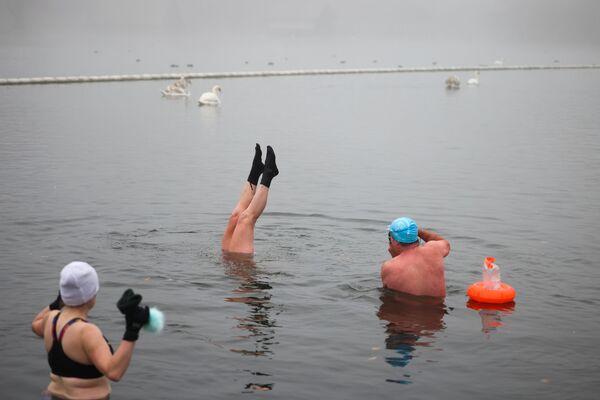 Люди плавают в озере в Гайд-парке зимним днем в Лондоне - Sputnik Latvija
