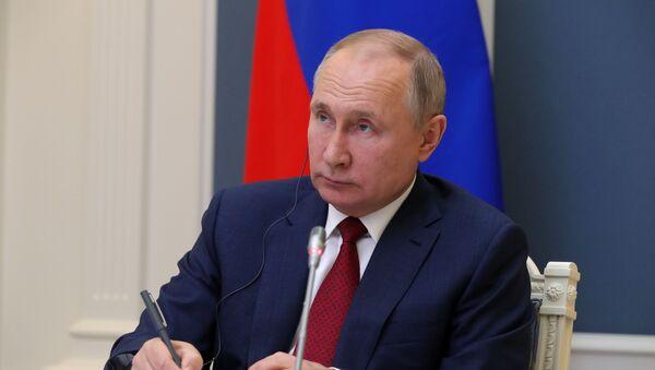 Президент РФ Владимир Путин участвует в сессии Всемирного экономического форума в Давосе в режиме видеоконференции - Sputnik Latvija