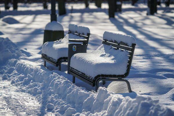 Занесенные снегом скамейки в парке - Sputnik Латвия