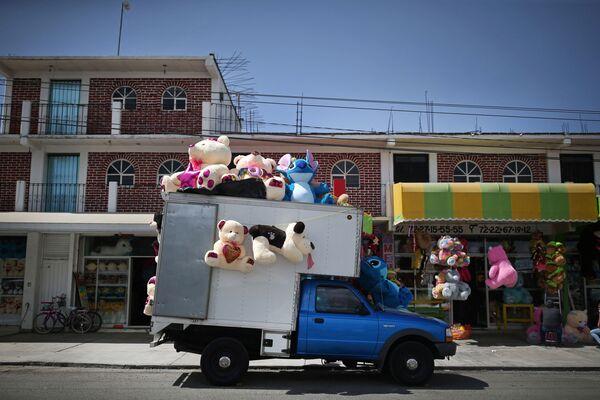 Торговля мягкими игрушками с грузовика в преддверии Дня святого Валентина на улице в Хонакатлане, Мексика - Sputnik Latvija