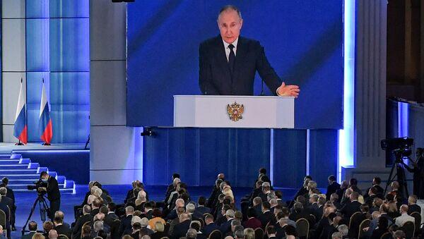 Президент РФ Владимир Путин во время выступления с посланием Федеральному собранию - Sputnik Латвия