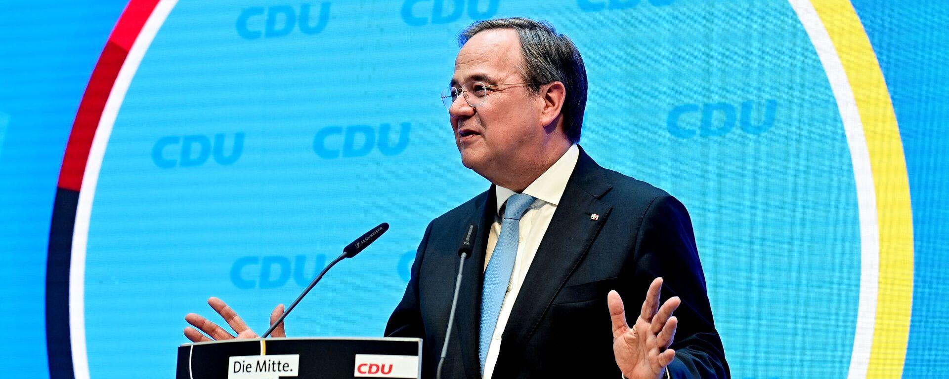 Глава Христианско-демократического союза (ХДС) Германии, премьер-министр земли Северный Рейн - Вестфалия Армин Лашет - Sputnik Латвия, 1920, 27.09.2021
