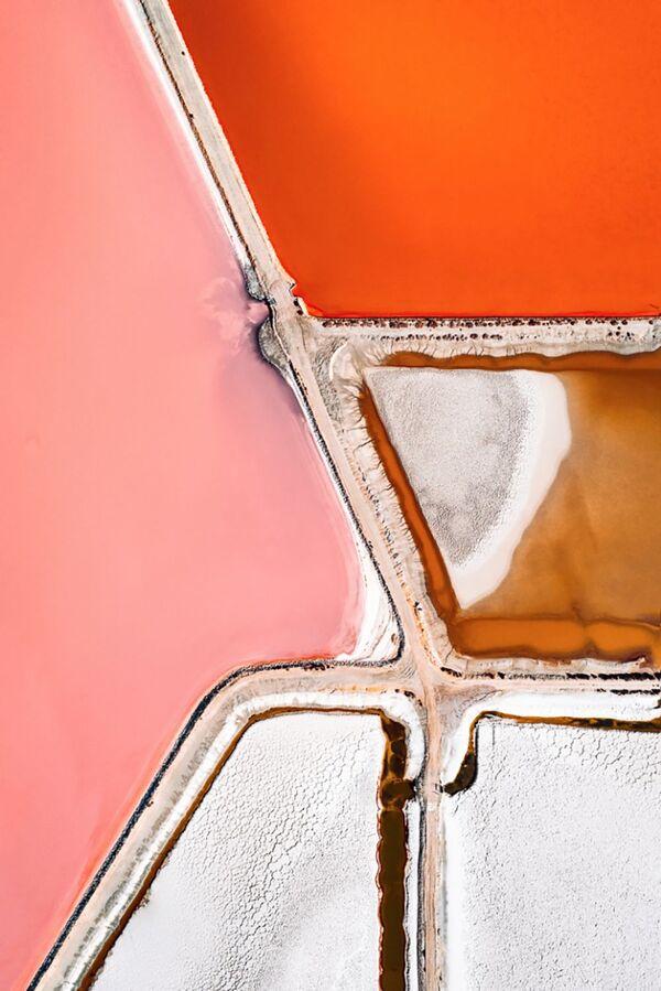 Sāls ieguve. Mikroorganismi maina nokrāsu atbilstoši dīķā sāļainības pieaugumam. Krāsas var mainīties no gaišāka toņa līdz spilgti sarkanai - Sputnik Latvija