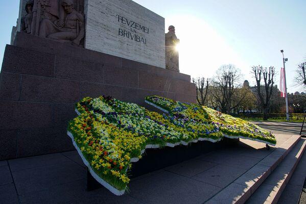 Latvijas karte no ziediem pie Brīvības pieminekļa Latvijas neatkarības atjaunošanas dienā - Sputnik Latvija