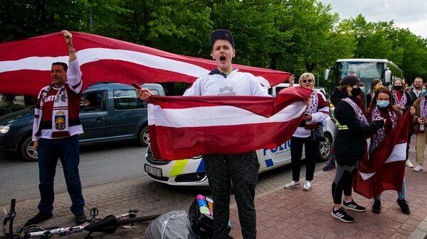 Болельщики сборной Латвии на домашнем чемпионате мира по хоккею - Sputnik Латвия