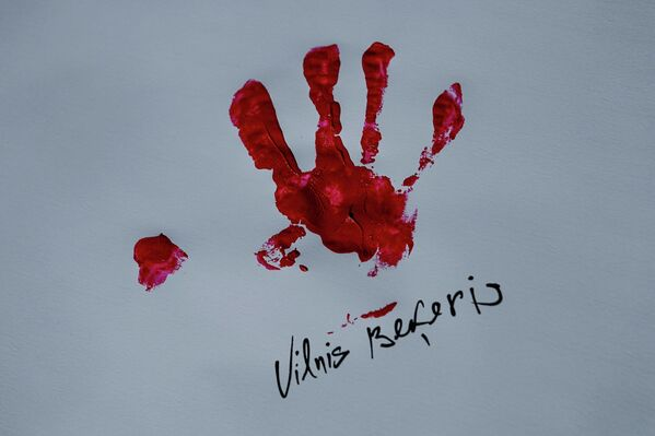 Отпечаток руки Вилниса Бекериса. - Sputnik Латвия