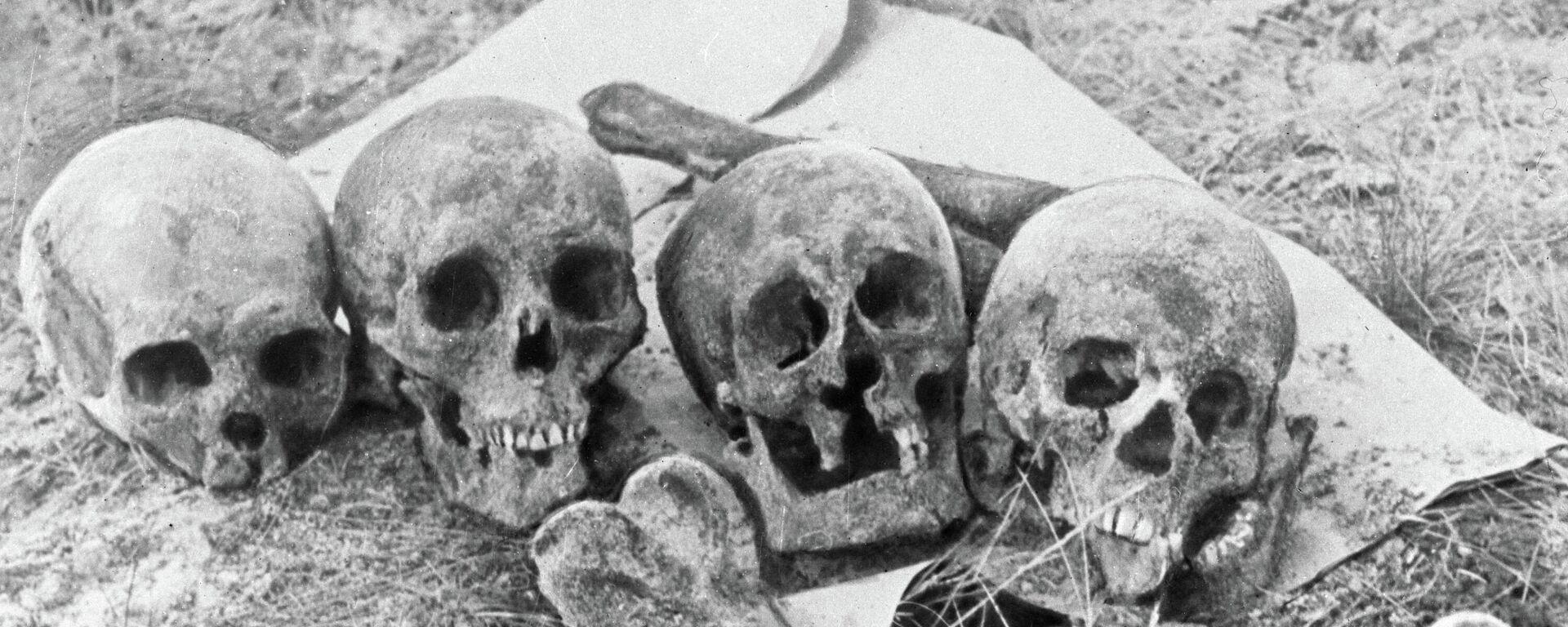 Черепа и кости жертв нацистов и их эстонских пособников - Sputnik Latvija, 1920, 26.06.2021