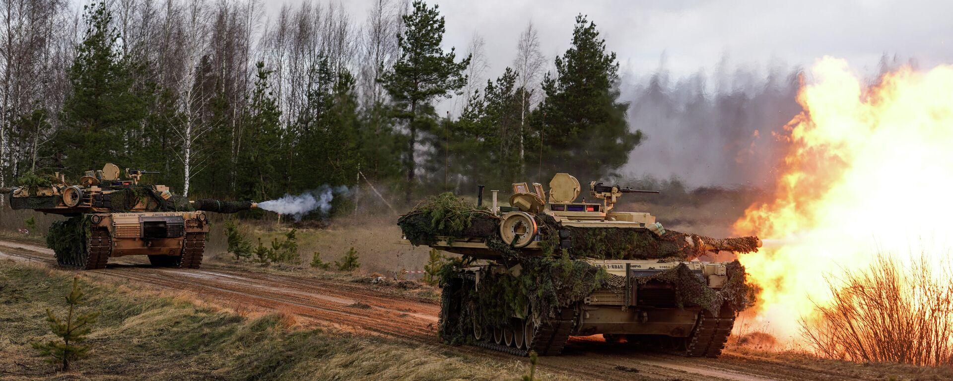 Tanki M1 Abrams militārajās mācībās Summer Shield XIV Latvijā - Sputnik Latvija, 1920, 29.07.2021