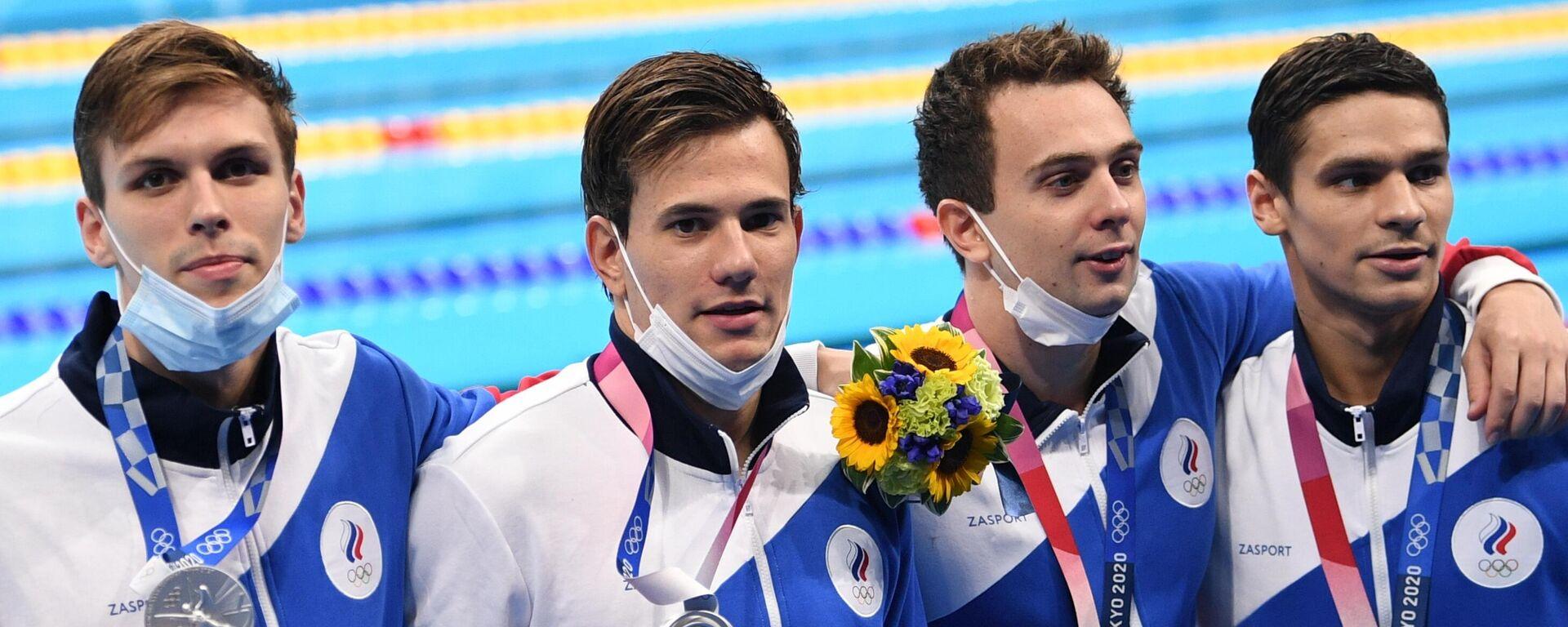 Российские участники мужской эстафеты 4х200 метров вольным стилем на Олимпиаде-2020 - Sputnik Латвия, 1920, 27.08.2021