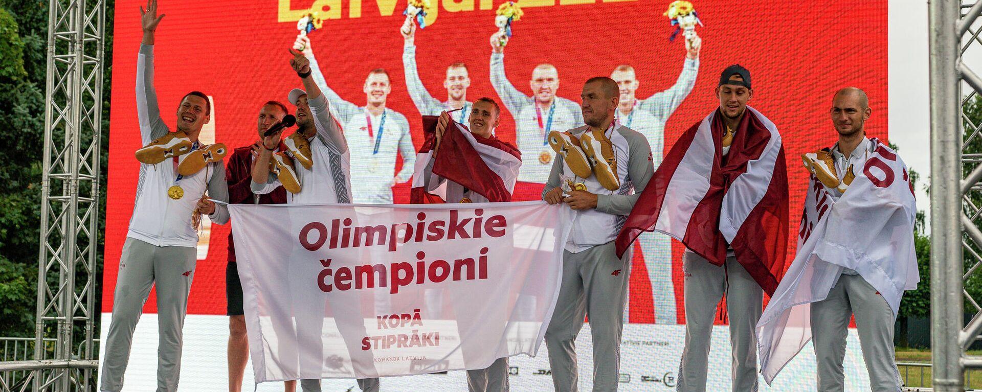 Торжественна встреча олимпийских чемпионов в Рижском аэропорту - Sputnik Латвия, 1920, 31.07.2021
