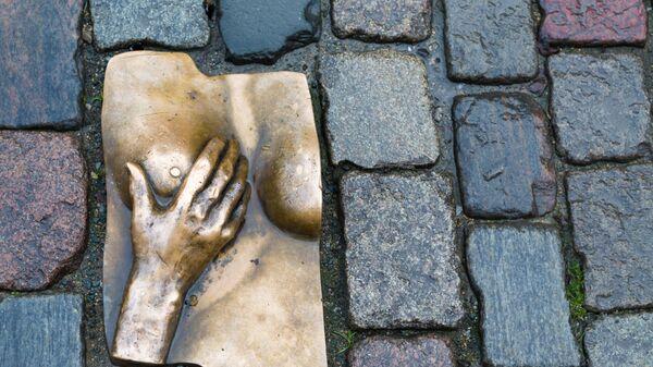 Памятник женской груди на булыжнике в районе красных фонарей в Амстердаме - Sputnik Latvija