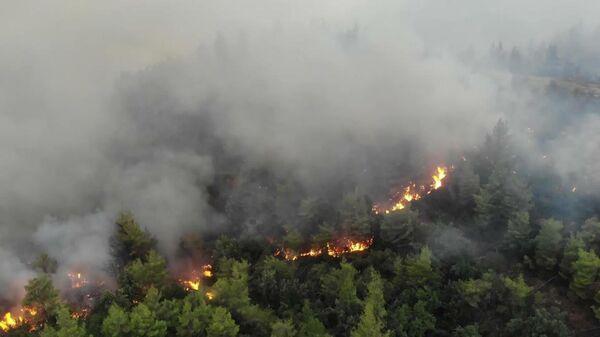 Greece: Drone captures devastating scenes as wildfires continue sweeping through Evia  - Sputnik Latvija