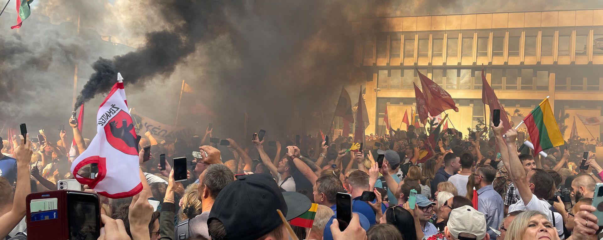 Митинг у здания Сейма Литвы - Sputnik Латвия, 1920, 17.08.2021