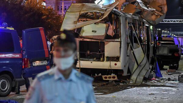 На месте взрыва автобуса в Воронеже - Sputnik Латвия