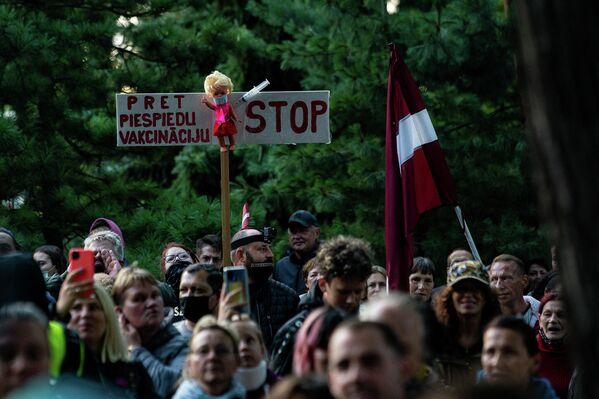 На акцию протеста многие пришли с государственными флагами - Sputnik Латвия