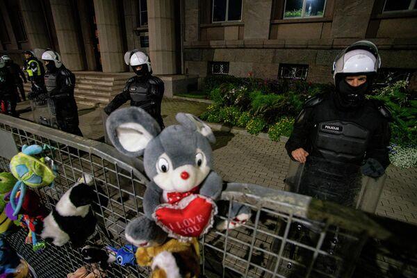 Митингующие принесли множество плюшевых игрушек на акцию протеста, чтобы показать мирные намерения - Sputnik Латвия