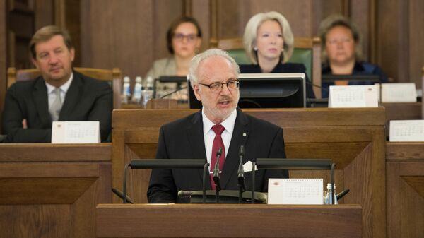 Президент Латвии Эгилс Левитс выступает в Сейме - Sputnik Латвия