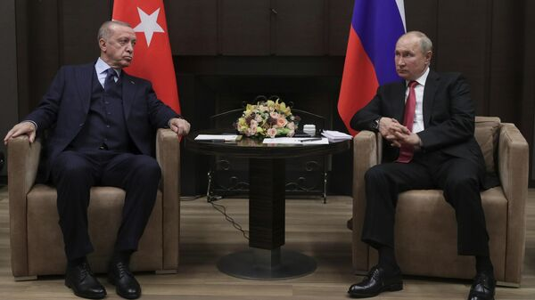 Президент РФ В. Путин провел переговоры с президентом Турции Р. Эрдоганом - Sputnik Latvija