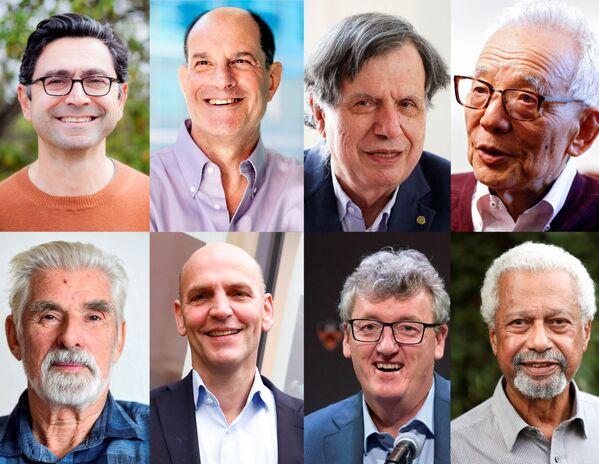 Astoņi Nobela prēmiju laureāti medicīnā, ķīmijā, fizikā un literatūrā. No kreisās uz labo, no augšas uz leju: Nobela prēmijas medicīnā laureāti ASV zinātnieki Deivids Juliuss un Ardems Pataputians; Nobela prēmijas fizikā laureāti Džordžo Parizi, Sjukuro Manabe un Klauss Haselmans; Nobela prēmijas ķīmijā laureāti Benjamins Lists un Deivids Makmilans; Nobela prēmijas literatūrā laureāts Abdulrazaks Gurna. - Sputnik Latvija