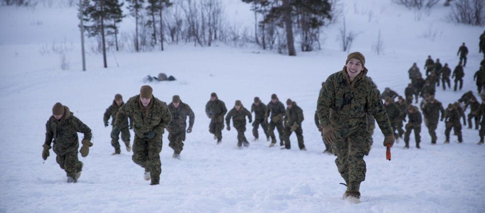 Американские морские пехотинцы во время тренировочных занятий в Норвегии - Sputnik Latvija, 1920, 28.01.2021