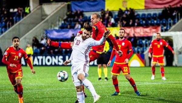 Нападающий сборной Латвии Валерий Шабала в выездном матче Лиги наций против Андорры, 19 ноября 2018 года - Sputnik Латвия