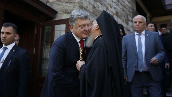 Президент Украины Петр Порошенко и Вселенский патриарх Варфоломей в Стамбуле. 3 ноября 2018 - Sputnik Латвия