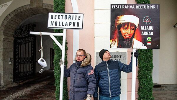 Пикет против присоединения Эстонии к Глобальному соглашению ООН о миграции - Sputnik Латвия