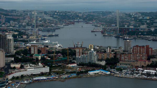 Вид на Владивосток и мост через пролив Босфор Восточный на остров Русский во Владивостоке - Sputnik Latvija
