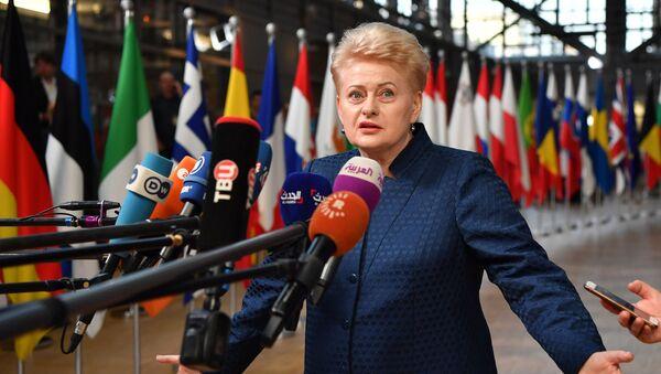 Президент Литвы Даля Грибаускайте отвечает на вопросы журналистов по ее прибытию на саммит Европейского совета в Брюсселе - Sputnik Latvija