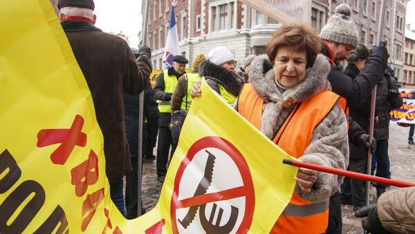 Татьяна Жданок на акции протеста в Риге против социального и национального неравенства в Латвии. 12 января 2019 г. - Sputnik Латвия