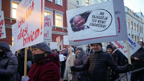 У здания Сейма прошел пикет Новой консервативной партии За правовую Латвию! - Sputnik Латвия
