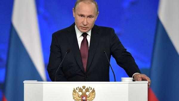 Президент РФ Владимир Путин выступает с ежегодным посланием Федеральному собранию - Sputnik Latvija