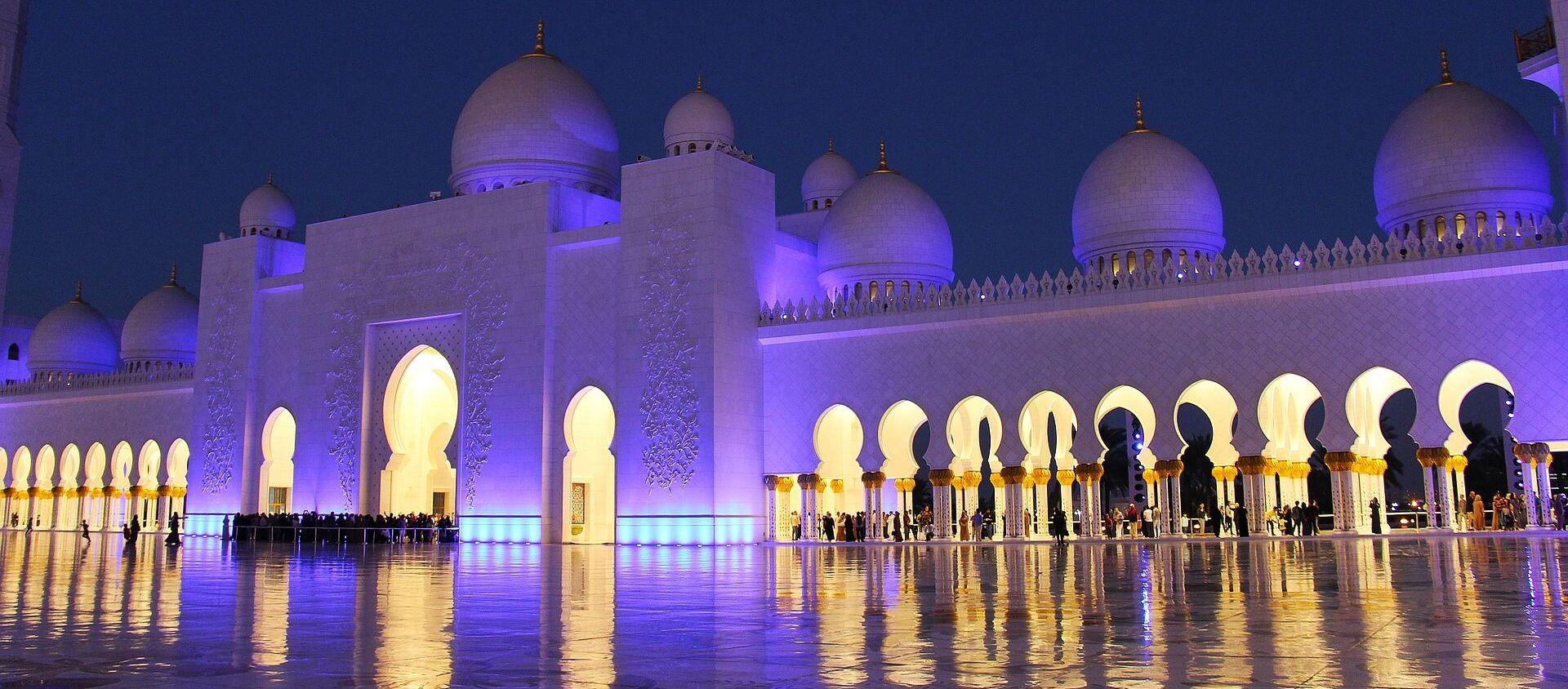 Подсвеченная ночью мечеть шейха Зайда в Абу-Даби - Sputnik Latvija, 1920, 03.03.2021
