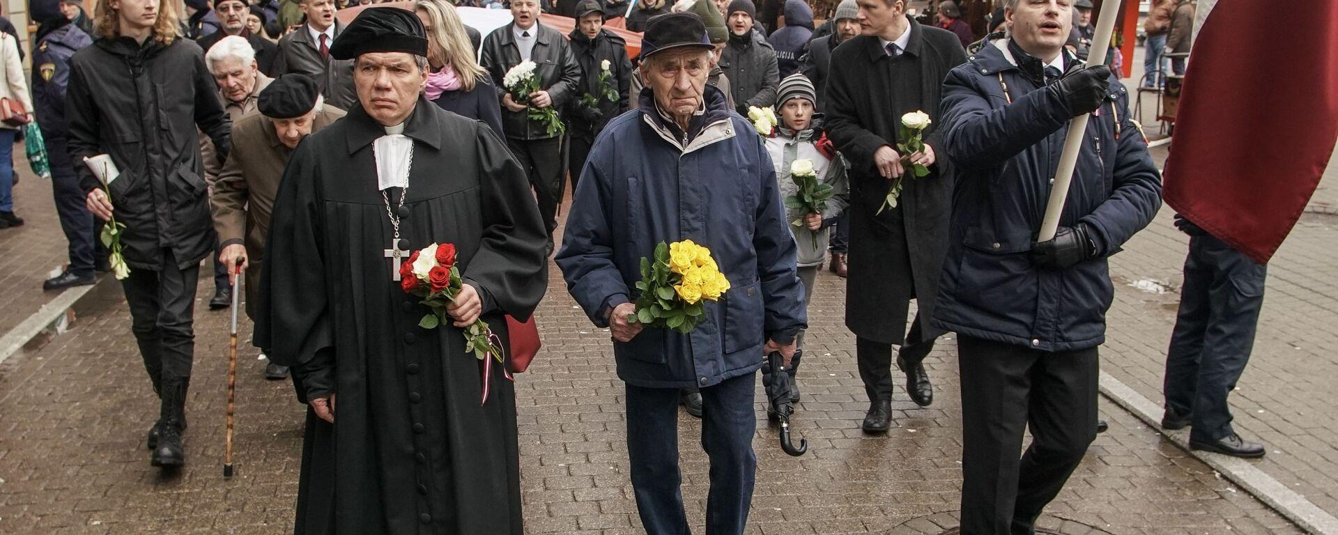 Шествие легионеров в Риге 16 марта 2019 - Sputnik Latvija, 1920, 18.03.2021