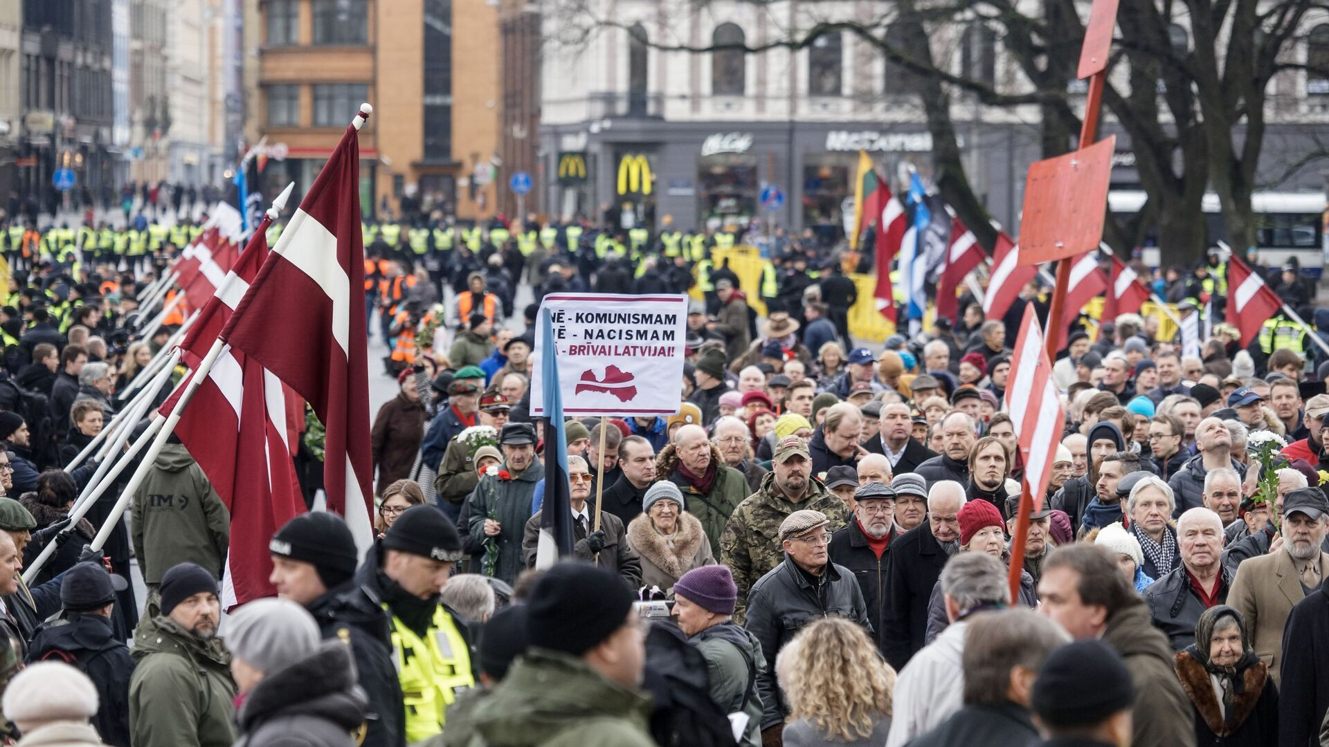 Шествие легионеров в Риге 16 марта 2019 - Sputnik Латвия, 1920, 08.09.2021