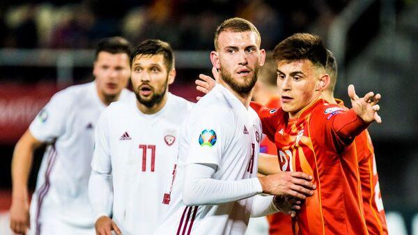 Игроки сборной Латвии по футболу в отборочном матче ЧЕ-2020 против команды Северной Македонии - Sputnik Латвия