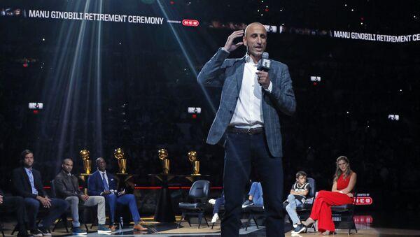 Баскетболист Ману Джинобили рассказывает о своей завершившейся карьере в Сан-Антонио Сперс 28 марта 2019 года - Sputnik Латвия