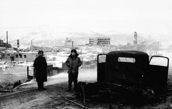 Город Киркенес (Норвегия), дотла сожженный фашистами, 1944 год  - Sputnik Латвия