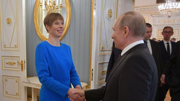 Президент РФ Владимир Путин и президент Эстонии Керсти Кальюлайд  - Sputnik Latvija