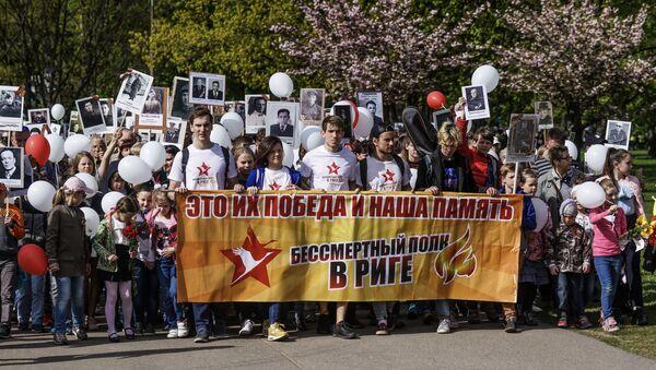 Акция Бессмертный полк в Риге, 9 мая 2019 - Sputnik Latvija