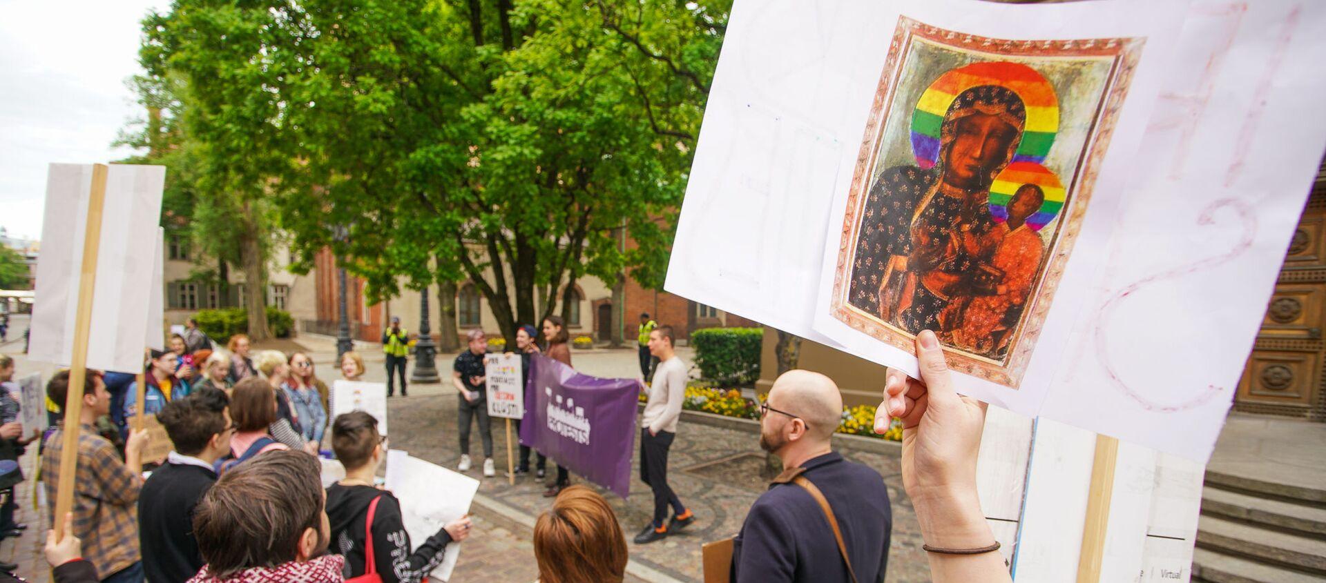 Пикет молодежной организации Протест за права представителей ЛГБТ - Sputnik Latvija, 1920, 21.06.2019