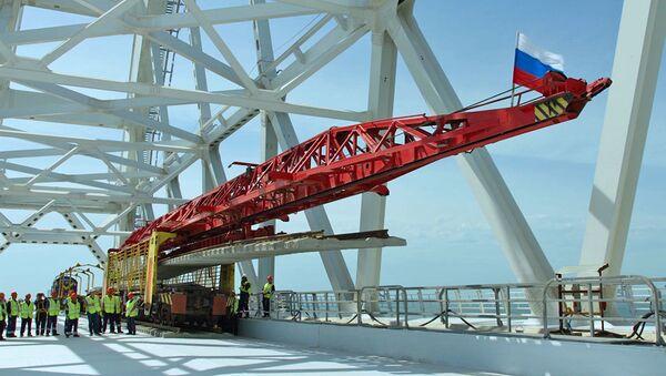 Построена первая жд ветка Крымского моста - видео - Sputnik Latvija