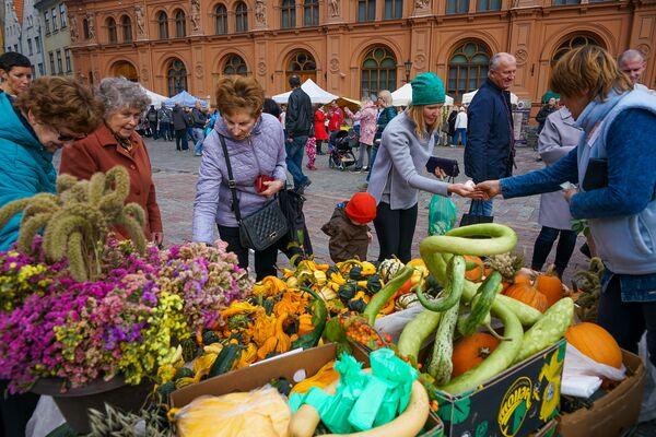 А горожане в День Микелиса спешат на Домскую площадь, чтобы успеть купить все самое вкусное - Sputnik Латвия