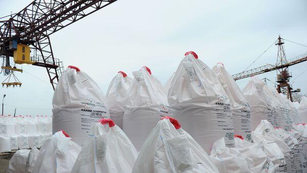 Хлористый калий, подготовленный к отгрузке в грузовом речном порту на реке Каме. - Sputnik Latvija